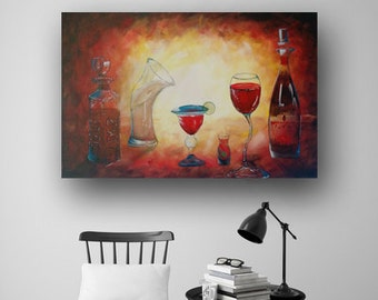 Cocktail Painting Abstract Painting Whimsical Bar Painting Original Painting on Canvas Large Painting Modern Art Heather Day Paintings