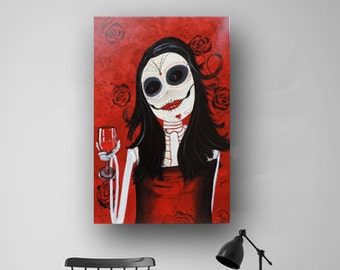 """Sugar Skull, Day of the Dead, Red White Black, Abstract Painting, Large Original Painting on Canvas, Contemporary Wall Art, 36"""" Heather Day"""