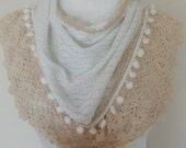 SALE triangle knitted shawl gift for her christmas valentines day gift bridal nr. 03