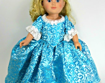 18 inch Doll Clothes Dress Up Historic 18th Century Brocade Costume AG Dolls with Chemise, Panniers and Petticoat