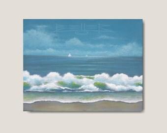 Original Seascape Painting, Beach Painting, Ocean Art, Coastal Decor, Oceanscape, OOAK Small Canvas Painting by Ron Beller
