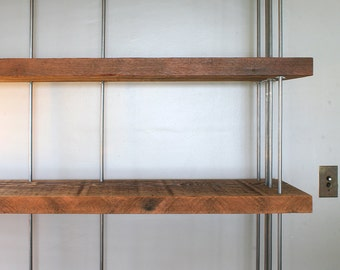reclaimed shelving from roughsawn old growth wood and recycled steel - bookcase, bookshelf - modern salvage - four to seven (4 to &) shelves