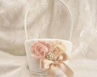 Flower Girl Basket and Pillow Rose Gold Flower Girl Basket and Pillow set, Flower Girl Basket set, Basket and Pillow