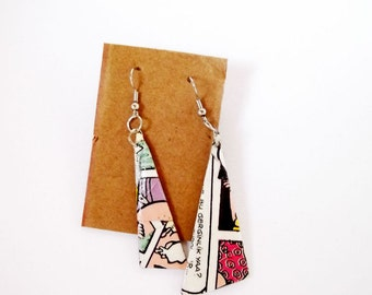 Papaer earrings, triangle earrings, paper gift for her, eco jewelry, upcycled jewelry, newspaper jewelry, freeform earrings, geeky earrings