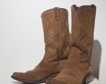 9 1/2 D | Men's Cowboy Boots Rough Out Leather Western Boot