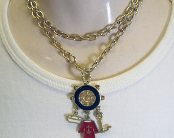 1980s Nautical Charm Necklace
