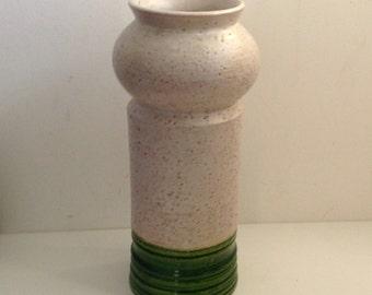 Rosenthal Netter. Large Bitossi Italian Art Pottery Vase Vintage 1960.  Textured Cream & Gloss Green Glaze.  Base chips.  Made in Italy.