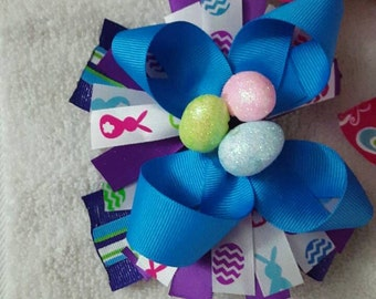 """5.5"""" Easter Bunny themed Stacked Boutique Bow"""