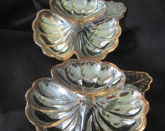 Vintage Jeannette Glass Marigold Carnival Glass Divided Dishes  - 2