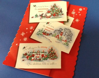 Vintage Christmas Card Tri Fold Unused w/ Envelope