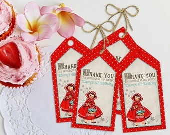 Red Riding Hood Thank you Tags - INSTANT DOWNLOAD - Editable & Printable Birthday Decoration, Into the Woods, Little Red Riding Hood Decor