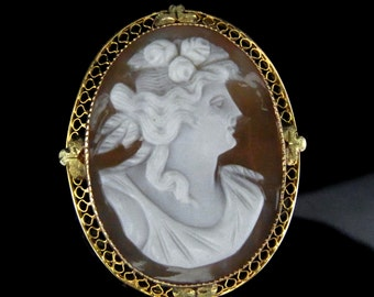 Cameo 10k Gold Pendant Brooch Pin FOB Grecian Woman Victorian Vintage Antique LAYAWAY AVAILABLE