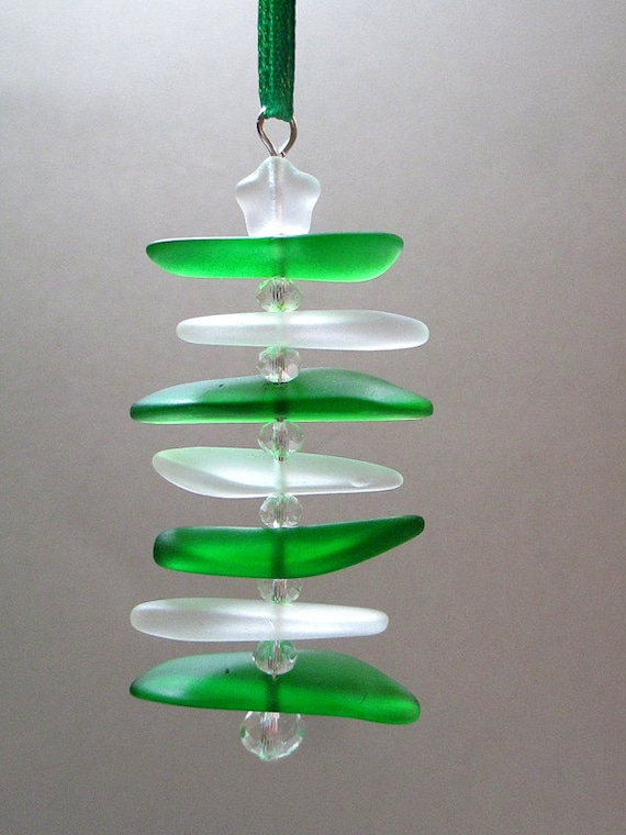Sea glass ornament green white seaglass by itsacolorfullife