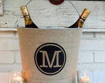SALE! Circle Monogram Rustic Wine Bucket