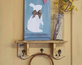 Easter Bunny Spring sign with Vintage fabric banner burlap bow Hand Painted Rustic Wood Sign Distressed Wall Decor