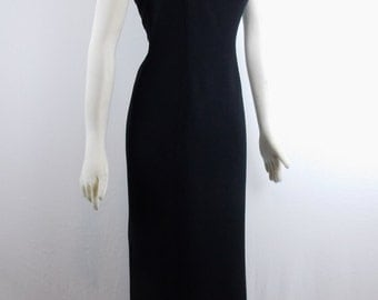 Sale Vintage Amazing THIERRY MUGLER COUTURE Cut Out Metal Bar Shoulder Avant Garde Evening Dress Size 40