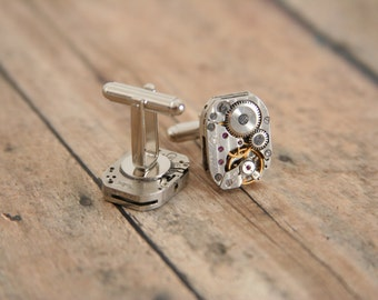 Steampunk cufflinks Clock movement Tick Tock - made with repurposed watch movement