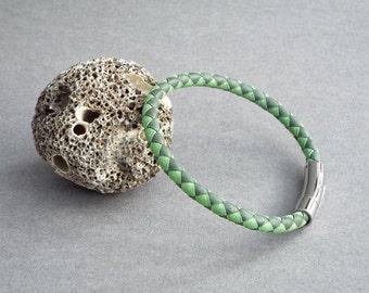Mens Leather Bracelet, Braided Bracelet, Custom Size, Boyfriend Gift, Men's Leather Jewelry, Jewelry for Him
