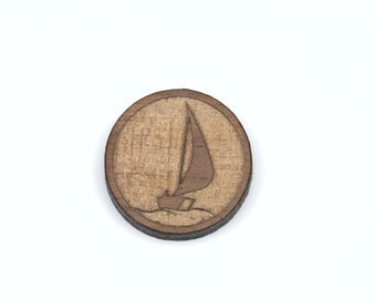 Set of 6 SAILBOAT Symbol, Laser Cut Supplies, Laser Engraved Wood, Earring Gauge Plug, Sustainable Wood Supplies, lcw0042