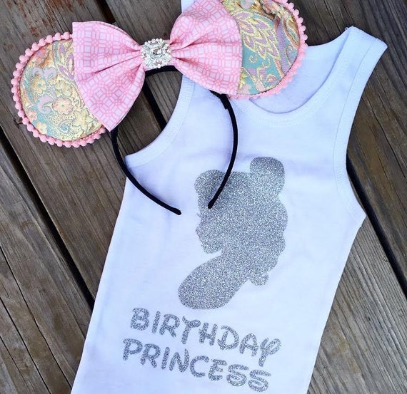 NEW BIRTHDAY PRINCESS Set Ears & Tank - dress-up costume  Custom, princess child woman girl, headband Disneyland, Disney