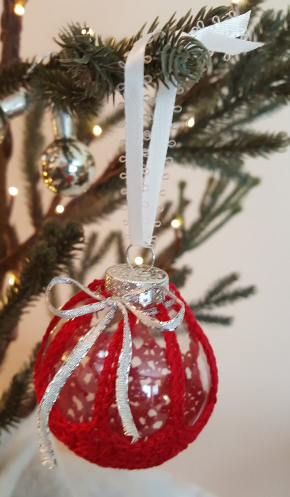 Crocheted Iced Jewel Ornament - Red - 15% off!