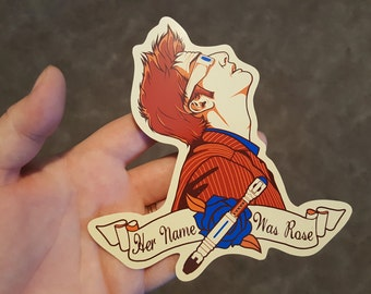 "David Tennant Tenth Doctor ""Her Name Was Rose"" Sticker"