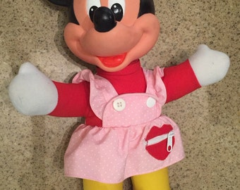 Teach Me Minnie, Minnie Mouse plush, Minnie Mouse doll, seventies Minnie, 70s Disney, vintage Disney