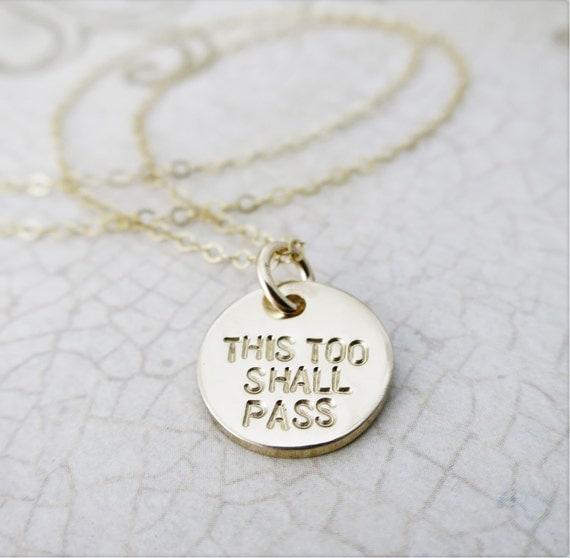 This Too Shall Pass | Gam Zeh Yaavor | Hebrew Necklace | Hebrew Jewelry |  Have Strength | Inspiration Gift | Layering Necklace