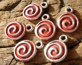 Red small Moroccan spiral round painted beads