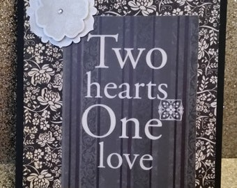 Handcrafted, Handmade Black Floral Two Hearts One Love Greeting Card, Wedding Card, Love Card, Anniversary Card, Valentine's Day Card, Vday