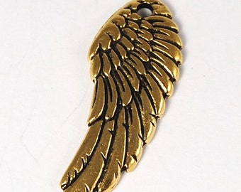 TierraCast Antique Gold Angel Wing Charm