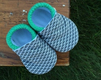 Baby Shoes for Boys - Grey/Gray Fish Scale Print with Solid Jade Green - Custom Sizes 0-3 3-6 6-12 12-18 18-24 months 2T 3T 4T