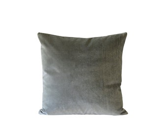 Grey Green Velvet Decorative Pillow | Green Throw Pillow