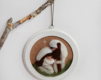 Nativity Ornament - Waldorf Nativity - Felted Nativity - Nativity Decor