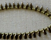 Czech Glass Petals and Brass Circle Pendant Necklace