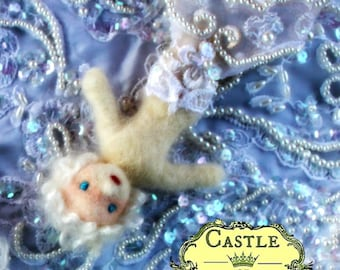Marlene the Mermaid with The White Beaded Vintage Faux Pearl Lace tail by Castle of Costa Mesa