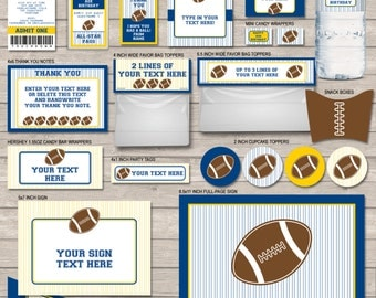 Football Party Printables, Invitations & Decorations - Navy Blue and Yellow - INSTANT DOWNLOAD with EDITABLE text - you personalize at home