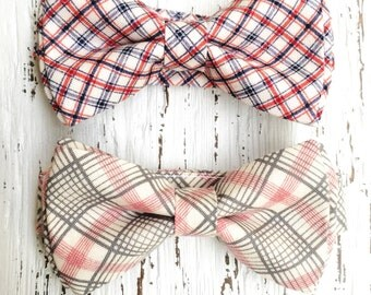 Red Plaid bowtie, grey and red bow tie, blue red plaid tie, boys bow tie, back to school tie