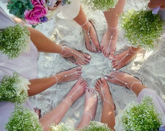 Bridal Barefoot Sandals Beach Wedding Foot Jewelry Footless