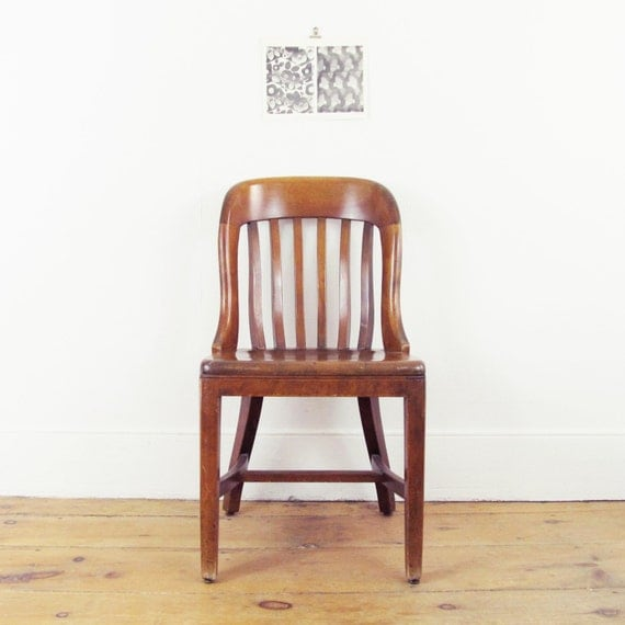 Wood Desk Chairvintage Industrial Chairantique Wood By Goseek