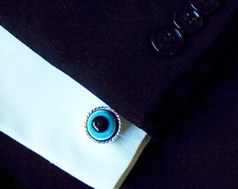 Mens Cufflinks,   Large Gothic Evil Eye Cuff Links Silver Mens Accessory Blue wedding groomsmen