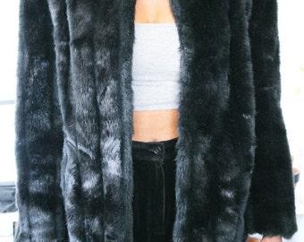Vintage Black Faux Fur Coat sz. S