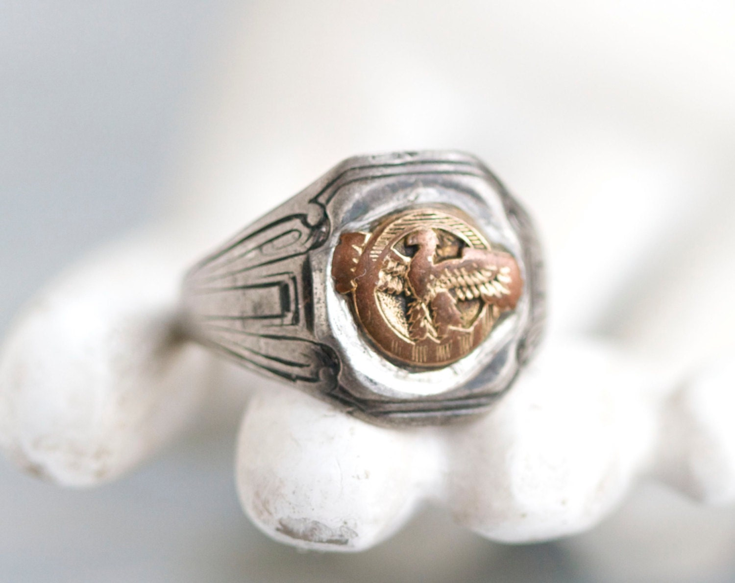 mens signet ring antique eagle deco ring size 12