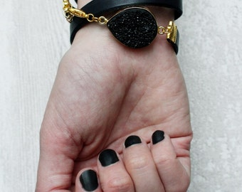 Matte Black Angel Druzy Multi Leather Wrap Bracelet
