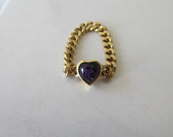 Vintage 18k Gold  Heart Shaped Purple Sapphire Curb Chain Link Engagement Ring