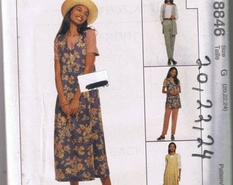McCall's 8846 - EASY Misses Unlined Vest, Jumper, Top, Pull-On Pants - Sizes 20, 22, 24 - UNCUT