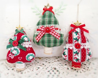 Fabric Tree Ornaments, Set of  3 Christmas Tree Onaments Holiday Bowl Fillers Primitive Favors Decorations CharlotteStyle Home Decor