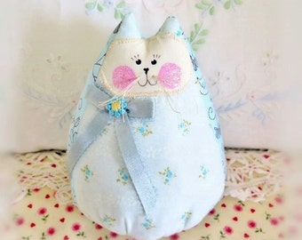 "Home Decor Cat Doll 6""  Free Standing Kitty, Sof Aqua Floral, Cat Doll Cottage Chic Prim Handmade CharlotteStyle Decorative"