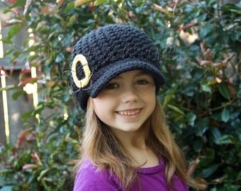Toddler/Child College Themed Brimmed Beanie - Black w/ Yellow