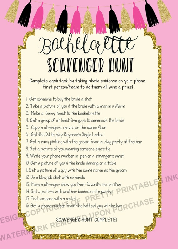 Printable Bachelorette Scavenger Hunt Game